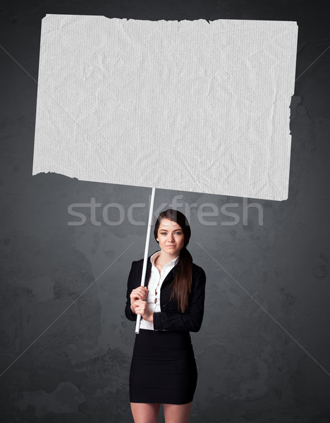 Zakenvrouw boekje papier jonge groot Stockfoto © ra2studio