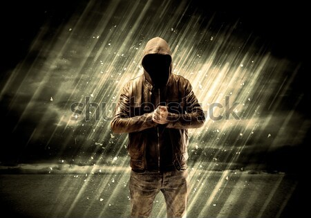 Dangerous criminal standing with cigarette Stock photo © ra2studio