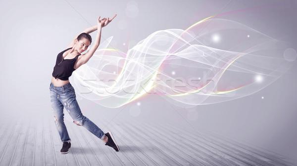 Városi breaktáncos tánc fehér vonalak gyönyörű Stock fotó © ra2studio