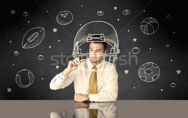 Empresário desenho capacete esportes feliz Foto stock © ra2studio