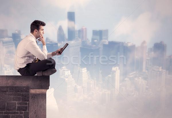 販売 人 座って 先頭 建物 ストックフォト © ra2studio