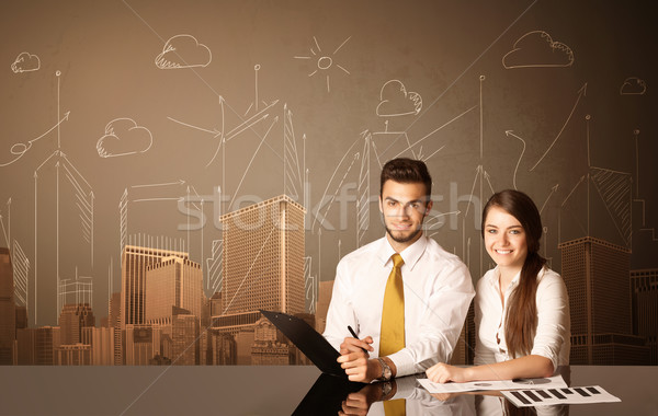 Business couple with buildings and measurements Stock photo © ra2studio