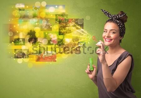 Bonitinho menina colorido memória Foto stock © ra2studio