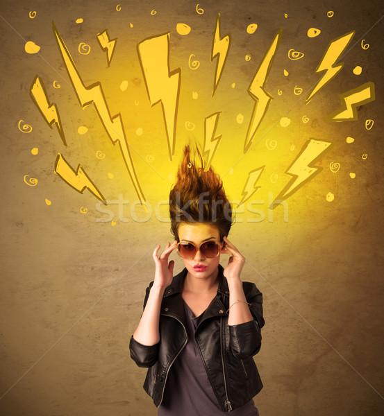 Młoda kobieta fryzura szczęśliwy model tle Zdjęcia stock © ra2studio