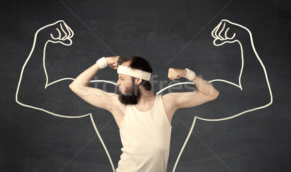 Jonge zwak man spieren mannelijke Stockfoto © ra2studio