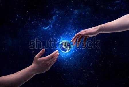 Foto stock: Mãos · espaço · tocante · planeta · terra · masculino · deus