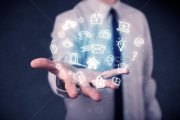 Stockfoto: Zakenman · Blauw · toepassingen · multimedia · iconen