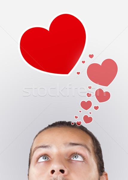 Jonge hoofd naar liefde type iconen Stockfoto © ra2studio