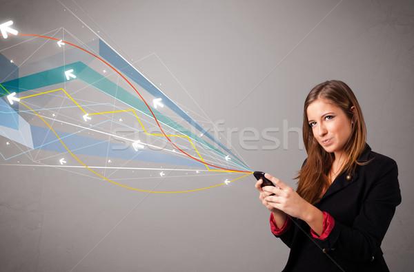 Zdjęcia stock: Dość · młodych · pani · stałego · telefonu