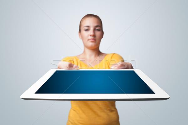 Stockfoto: Jonge · vrouw · moderne · tablet · mooie · meisje