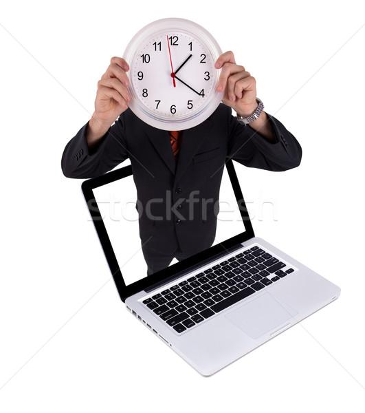 Man klok laptop geïsoleerd witte gelukkig Stockfoto © ra2studio