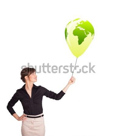 Feliz dama verde mundo globo Foto stock © ra2studio