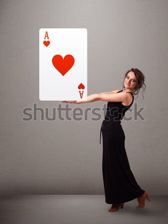 Belle femme rouge coeur ace belle Photo stock © ra2studio