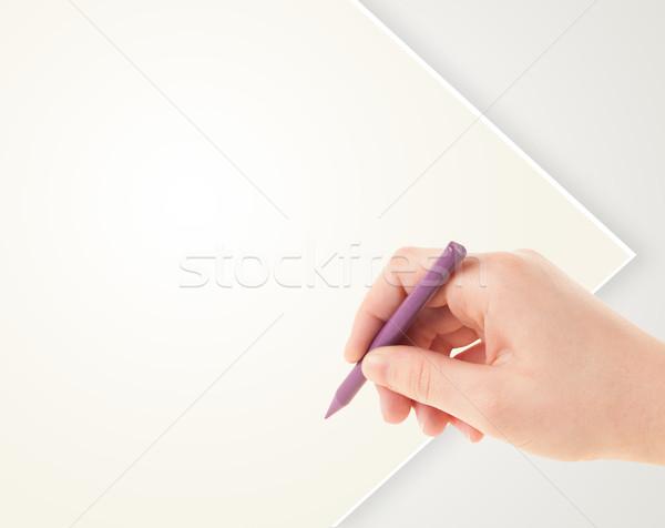 Gyermek rajz színes zsírkréta üres üres papír Stock fotó © ra2studio