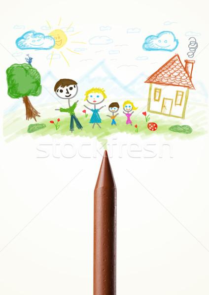 Krijt tekening familie gekleurd verf Stockfoto © ra2studio