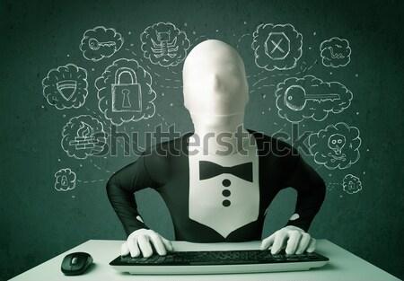 Stockfoto: Hacker · masker · virus · hacking · gedachten · groene