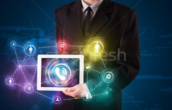 молодые бизнесмен социальной сетей технологий Сток-фото © ra2studio