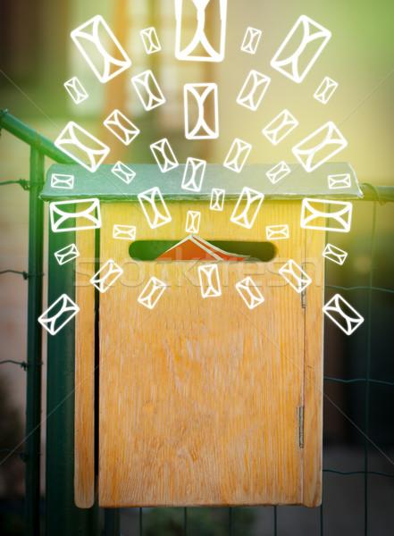 Stockfoto: Mailbox · brief · iconen · groene · papier