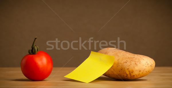 ストックフォト: 空っぽ · 注記 · 野菜 · 付箋 · 背景 · 赤