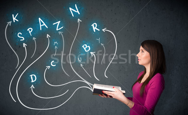 Stock photo: Pretty woman reading a book while multiple choices are coming ou