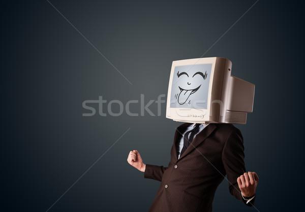 Szczęśliwy człowiek biznesu monitor komputerowy ekranu uśmiech Zdjęcia stock © ra2studio