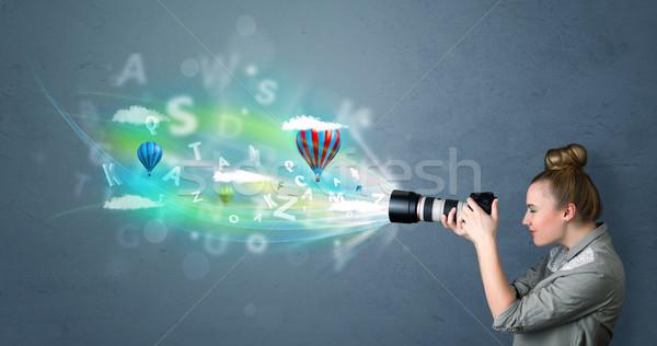 Fotograaf camera abstract denkbeeldig cute meisje Stockfoto © ra2studio