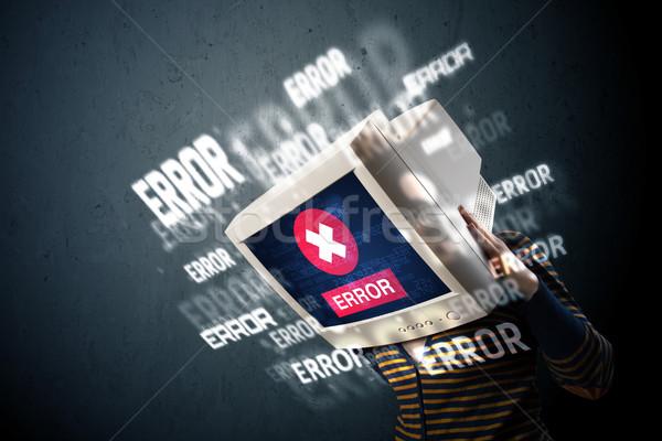 Femminile monitor testa errore di segni display Foto d'archivio © ra2studio