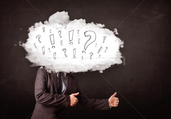 Stock foto: Geschäftsmann · Wolke · Kopf · Frage · Business · Computer