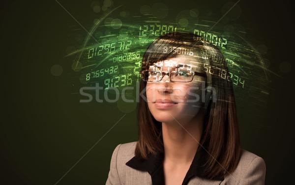 Femme d'affaires regarder élevé tech nombre ordinateur Photo stock © ra2studio