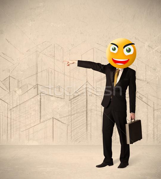 Empresário rosto sorridente engraçado amarelo negócio cara Foto stock © ra2studio