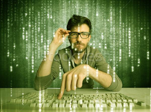 Online hacking vooruitgang begaafd hacker database Stockfoto © ra2studio