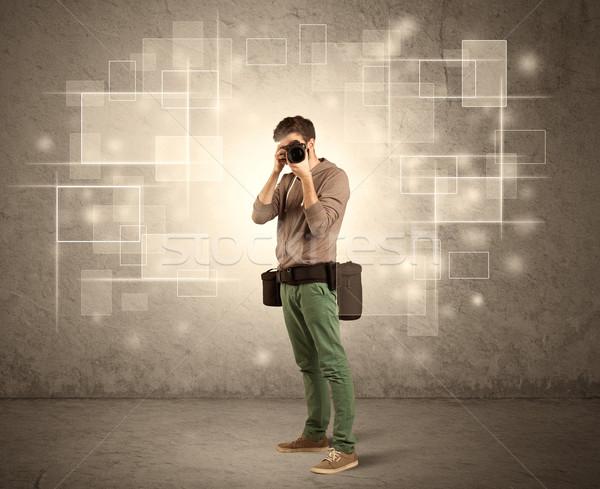 Masculino profissional lente da câmera fotógrafo câmera Foto stock © ra2studio