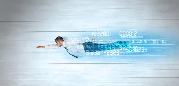 Foto stock: Empresário · voador · super · rápido · dados · números