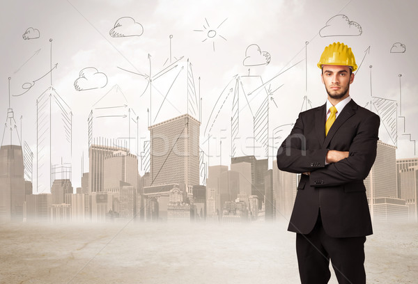 Business engineer planing at construction site with city backgro Stock photo © ra2studio