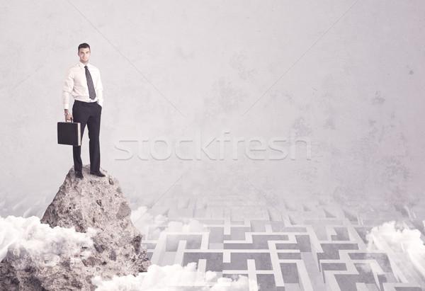 ビジネスマン 崖 迷路 迷路 ストックフォト © ra2studio