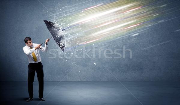 деловой человек свет зонтик воды работу Мир Сток-фото © ra2studio
