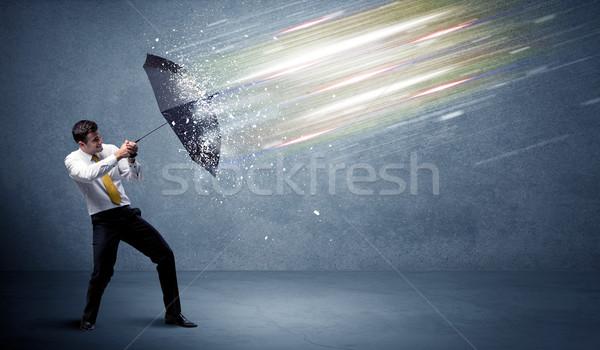 деловой человек свет зонтик бизнеса воды интернет Сток-фото © ra2studio