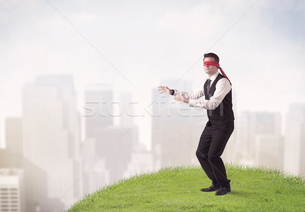 目隠し ビジネスマン 小さな 手順 パッチ 草 ストックフォト © ra2studio