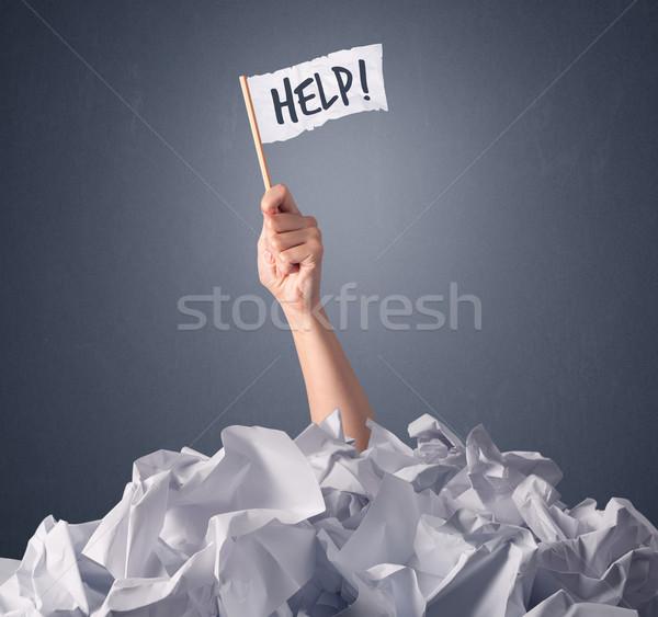 Photo stock: Homme · main · aider · signe · papier