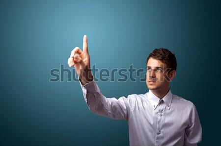 Homme imaginaire bouton bokeh affaires Photo stock © ra2studio