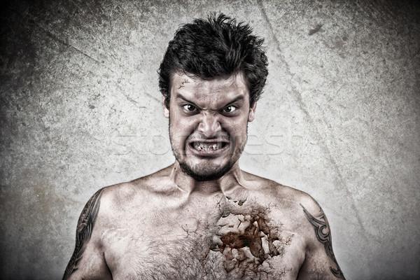 Stock foto: Sinister · Gesicht · geknackt · Haut · häßlich · Business
