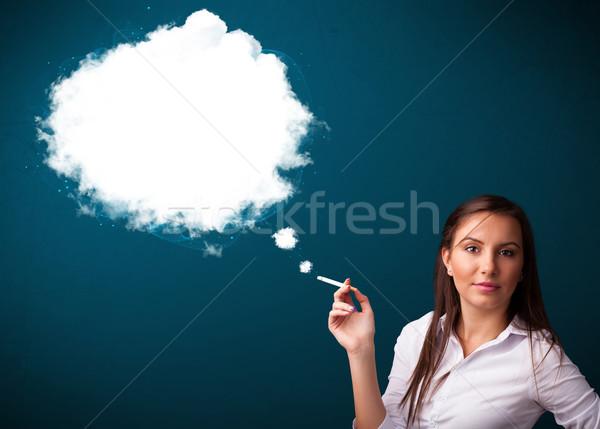 курение нездоровый сигарету плотный дым Сток-фото © ra2studio