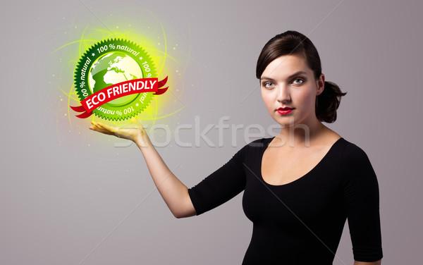 Donna virtuale eco segno Foto d'archivio © ra2studio