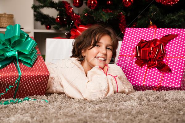 Happy kids with christmas present Stock photo © ra2studio