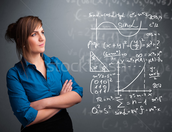 Beautiful school girl thinking about complex mathematical signs Stock photo © ra2studio