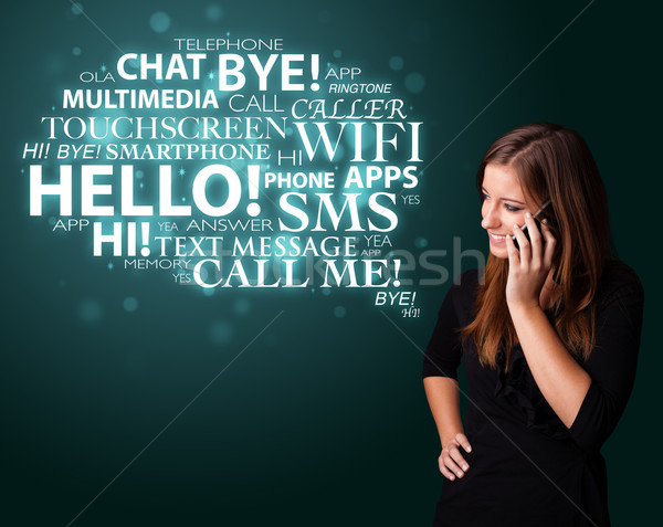 Young girl calling by phone with word cloud Stock photo © ra2studio