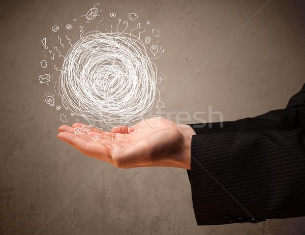 Káosz kéz üzletember bemutat pálma üzlet Stock fotó © ra2studio