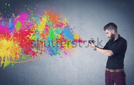 красочный из пушки рук Сток-фото © ra2studio