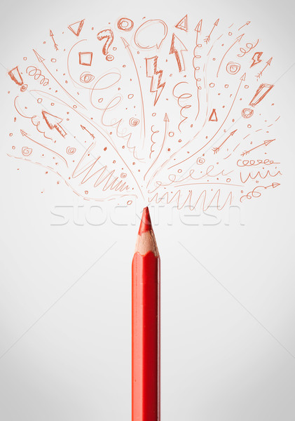 Stock photo: Pencil close-up with sketchy arrows