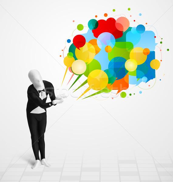 Furcsa fickó néz színes szövegbuborékok vicces Stock fotó © ra2studio